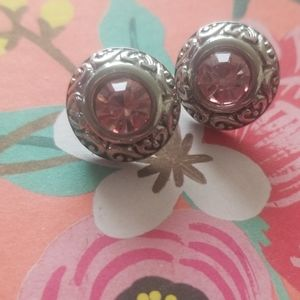Silver and pink gemstone ear studs